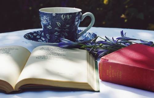 Canva - Book Opened on Top of White Table Beside Closed Red Book and Round Blue Foliage Ceramic Cup on Top of Saucer